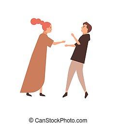 quereller, relation, conflit, paire, dessin animé, disputer, wife., femme homme, couple, concept., characters., jeune, mari, vecteur, illustration., manque, problèmes, plat, famille, compréhension, combat