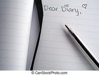 querido, caneta, diário