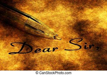 querido, señor, pluma, fuente, texto
