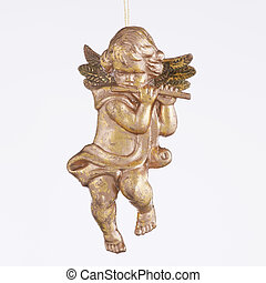 querubín, ornamento, tocar la flauta