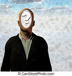 Man with question mark inside head