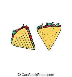 Quesadilla - mexican traditional food. Fast food. Hand drawn sketch doodle. Vector color illustration for menu, poster, web and package design. Isolated on white background.