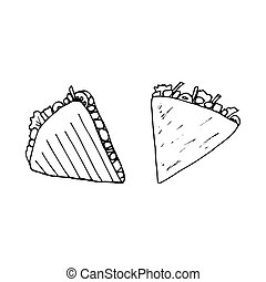 Quesadilla - mexican traditional food. Fast food. Hand drawn sketch doodle. Vector transparent illustration for menu, poster, web and package design. Isolated on white background.