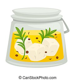queso, aceite, contenedor, aislado, aceituna, cubos, feta,...