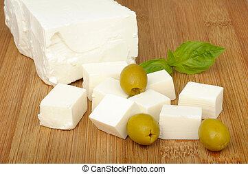 queso, aceitunas, feta