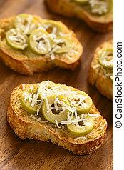 queso, aceitunas, verde, crostini