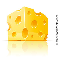 queso, alimento, agujeros, poroso, amarillo, pedazo