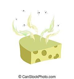 queso, alimento, delicadeza, ilustración, malo, vector,...