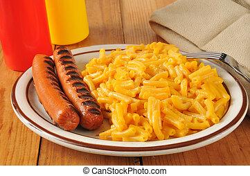 queso asado parrilla, mac, perros calientes