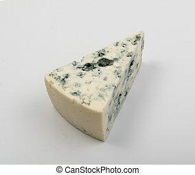 queso azul, arriba, plano de fondo, cierre, blanco, pedazo