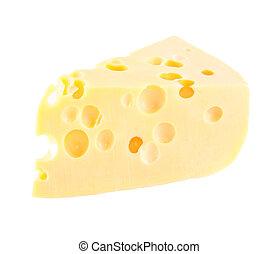 queso, blanco, pedazo, agujeros, aislado