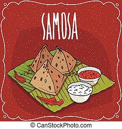 queso, bocado, cuajada, indio, salsa, samosa