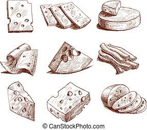 queso, bosquejo, colección