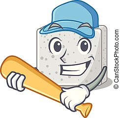 queso, carácter, béisbol que juega, feta, caricatura