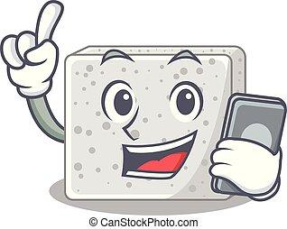 queso, carácter, caricatura, feta, teléfono