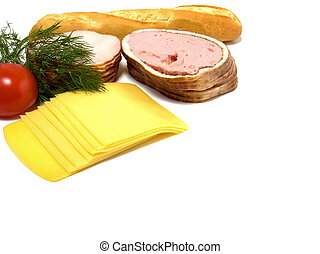 queso, carne blanca, aislado, rebanadas