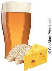 queso, cerveza,  bread