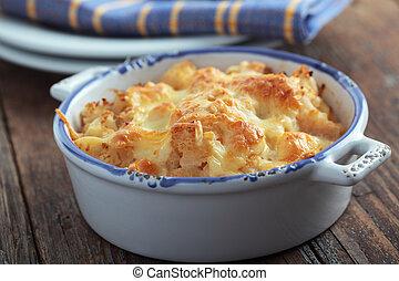 queso, coliflor