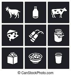 queso, conjunto, capacidad, sample., empaquetado, icons.,...