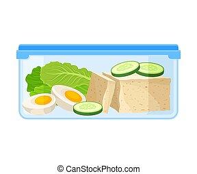 queso, contenedor, vegetables., ilustración, fondo., vector,...