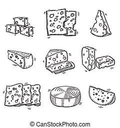 queso, diferente, quesos, garabato, bosquejo, mano,...