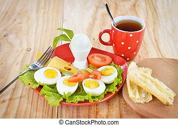 queso, ensalada, plano de fondo, placa, tomates, de madera, ...