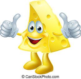 queso, feliz, caricatura, hombre