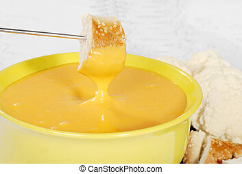 queso, fondue, mojado, bread