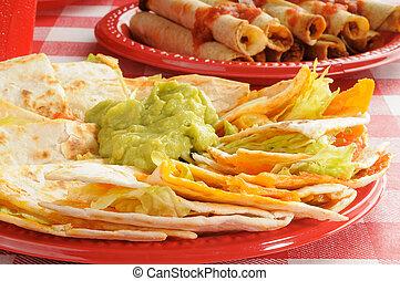 queso,  guacamole,  Quesadillas
