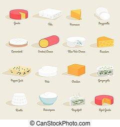 queso, icono, plano