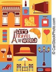 queso, moda, cultura, conjunto, viajar, ciudad, parís,...