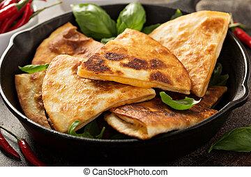 queso, molde, cacerola, hierro,  Quesadillas