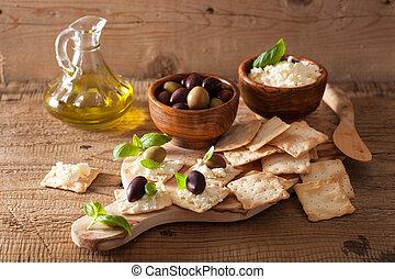 queso, olives., sano, aperitivo, galletas, suave