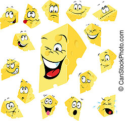 queso, pedazo, caricatura