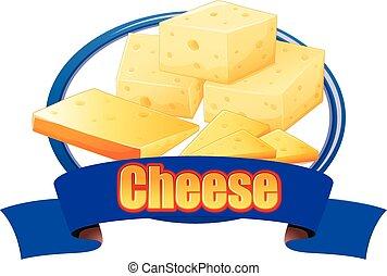 queso, pegatina