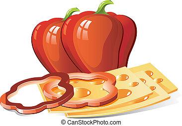 queso, pimienta, rojo, rebanadas
