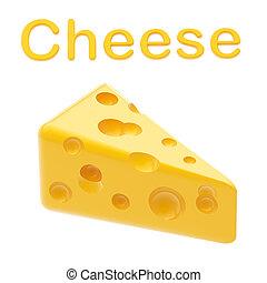 queso, pirámide, aislado, amarillo, estilizado, brillante