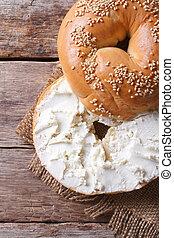 queso, primer plano, vertical, cima, bagel, crema, vista