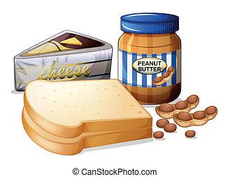 queso rebanado, mantequilla, bread
