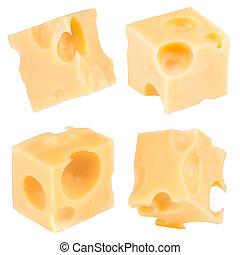 queso, recorte, cubo, collection., aislado, fondo., trayectoria, blanco