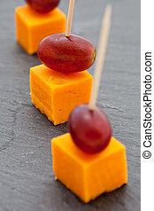 queso, snacks., cubos, uvas, fiesta
