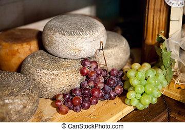 queso, típico, toscana, pienza, pecorino