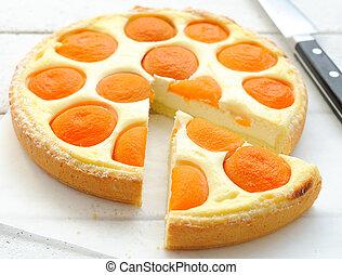 queso, tarta, albaricoques