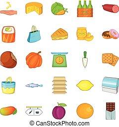 queso, tienda, iconos, conjunto, caricatura, estilo