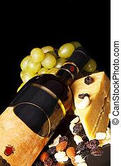 queso, uva, botella roja, vino