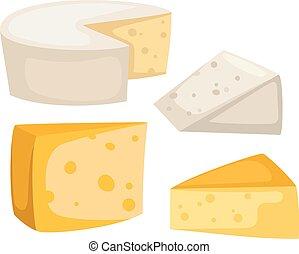 queso, vector, aislado, rebanadas