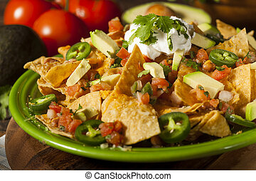 queso, vegetales, malsano, casero, nachos