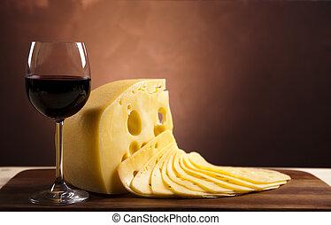 queso, y, vino