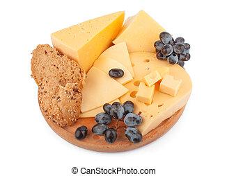 quesos, en, de madera