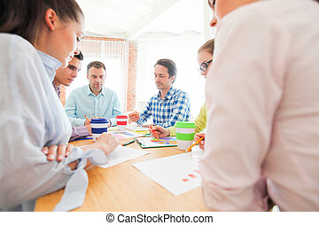 questão, discutir, financeiro, pessoas negócio